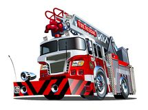 Vector cartoon firetruck. Available EPS-10 vector format separated by groups and layers for easy edit Stock Photo