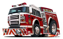 Vector cartoon firetruck Royalty Free Stock Image