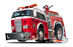 Vector cartoon firetruck stock illustration