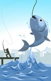 Vector cartoon fish bait illustration. The fish appear from water jumping with fishing man silhouette as background Royalty Free Stock Photo