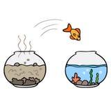 Vector cartoon fish jump. Isolated Stock Photography