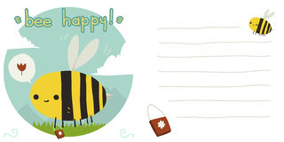 Vector cartoon flat bee happy postcard. The vector greeting card with funny bee, background and lines for text Royalty Free Stock Photography