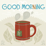 Vector cartoon flat the cup of tea. The vector greeting card with cup of tea for games presentations, ui tablets, smart phones Royalty Free Stock Photo