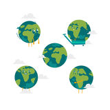 Vector cartoon flat globe character set isolated Stock Image