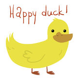 Vector cartoon flat Happy Duck postcard. Vector hand drawn illustration of tiny cute yellow duck bird. For ui, games, and patterns Royalty Free Stock Photography