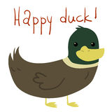 Vector cartoon flat Happy Duck postcard. Stock Image