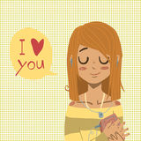 Vector cartoon flat I love you greeting card. Stock Images