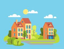 City houses facades. Royalty Free Stock Images