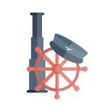 Vector cartoon flat nautical illustration. Vector illustration with flat cartoon lighthouse, captain hat, ship wheel. Cartoon background for cruise company Stock Photography