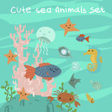 Vector cartoon flat ocean stuff. For ui, web games, tablets wallpapers and patterns Royalty Free Stock Photography