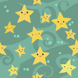 Vector cartoon flat Stars pattern. The vector pattern with funny cute stars for games presentations, ui tablets, smart phones Stock Image