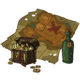 Vector cartoon flat Treasure Map. The vector illustration of treasure map with chest and bottle of rum for games presentations, ui tablets, smart phones Stock Photo
