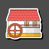 Vector cartoon flat watermill icon isolated on background vector illustration