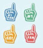 Foam fingers. We`re 1. Lets` Go. Number One Fan royalty free illustration