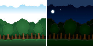 Vector cartoon forest landscape day and night Royalty Free Stock Images