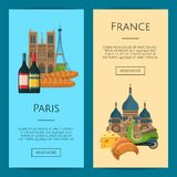 Vector cartoon France sights objects illustration royalty free illustration