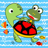 Vector cartoon frog and turtle underwater Royalty Free Stock Photography