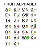 Vector cartoon of FRUIT ALPHABET.  letters collection for kids. Educational poster for school and home. Royalty Free Stock Photo