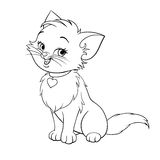 Vector cartoon fun cute kitten line art. Vector happy cute fun kitten cartoon smiling character cat line art coloring book black and white drawing illustration vector illustration