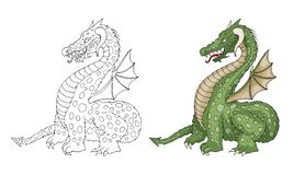 Vector cartoon funny dragon with horns and wings sticking out tongue royalty free stock photography
