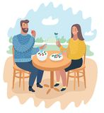Couple in a street cafe. Vector cartoon funny illustration of couple in a street cafe. Man and woman eating healthy foot at the nature landscape Royalty Free Stock Photography