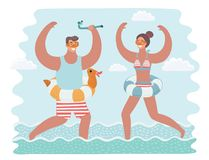 Vector cartoon funny illustration of man and woman running together in the in the water. Vector cartoon funny illustration of rejoice man and woman running Stock Photography