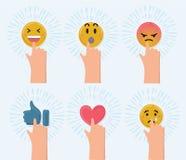 Vector cartoon funny illustration of set of cute smiley emoticons, emoji Stock Photography