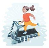 Vector cartoon funny illustratuion of plump young woman running on treadmill Stock Image
