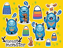 Vector cartoon funny monsters stickers collection. Vector sticker set with cute monsters and bright imaginary characters design elements. Emotions monsters Stock Photo