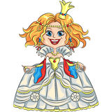 Vector cartoon funny princess with a golden crown Stock Photography