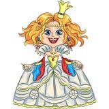 Vector cartoon funny princess with a golden crown stock photography