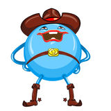 vector Cartoon funny round blue-colored monster Royalty Free Stock Photos