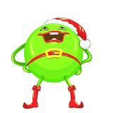 Vector Cartoon funny round green-colored monster Stock Image