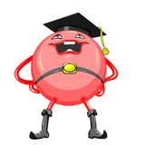 Vector Cartoon funny round red-colored monster Stock Photography