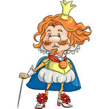 Vector cartoon funny sad king with a golden crown royalty free stock image