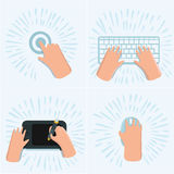 Vector cartoon funny set of illustration of hand touch screen by finger, draw on graphic tablet on the desk,. Vector cartoon set of illustration of hand touch Royalty Free Stock Photo