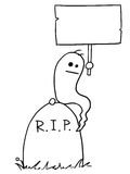 Vector Cartoon of Ghost Sitting on the Tombstone Holding Empty S. Cartoon vectorghost sitting on the tombstone grave with empty sign in his hand Royalty Free Stock Photos