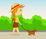 Vector cartoon girl with dog Royalty Free Stock Photo