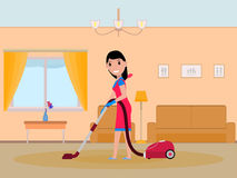 Vector cartoon girl maid cleaning apartment. Vector illustration of a cartoon girl is cleaning in the apartment. Isolated white background. A woman maid vacuums Royalty Free Stock Photo