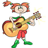 vector Сartoon girl playing the guitar Stock Photos
