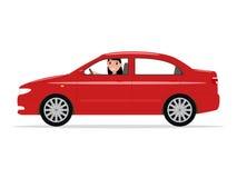Vector Cartoon Girl Sitting In A Car Behind Wheel Royalty Free Stock Image