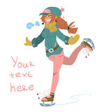 Vector cartoon Girl on Skates. The vector illustration of cute young girl on skates. For ui, web games, tablets, wallpapers, and patterns Stock Photos