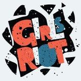 Girls riot hand drawn lettering. Feminist typographic monochrome poster. Vector cartoon Girls riot hand drawn lettering. Grunge texture Feminist typographic Stock Photo
