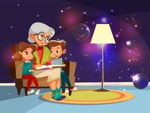 Vector cartoon grandmother reading to girl boy. Vector cartoon grandmother reading astrophysics, cosmos space science book boy girl sitting armchair Royalty Free Stock Photo