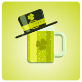Vector cartoon green beer and hat Stock Images
