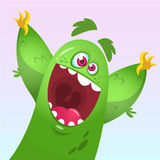 Vector cartoon of a green fat Halloween monster. Isolated.  Royalty Free Stock Photo