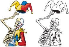 Vector Cartoon Half Skeleton Half Joker. Vector cartoon clip art illustration of a scary half skeleton half joker or jester or harlequin tipping his hat with royalty free illustration
