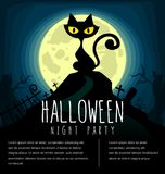 Vector cartoon halloween cat silhouette template with cemetery and full moon in dark scary night at cemetery. Design illustration Stock Images