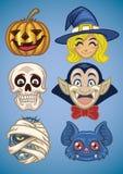 Cartoon of halloween characters set Stock Photos