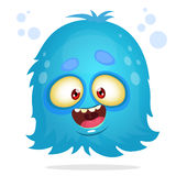 Vector cartoon Halloween monster. Blue furry flying monster isolated Royalty Free Stock Images